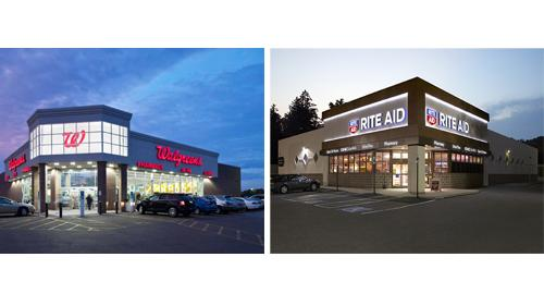 Side by side images of a Walgreens store and a Rite Aid store