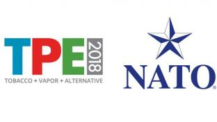 TPE 2018 logo and the National Association of Tobacco Outlets logo