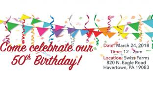 Invitation for Swiss Farms' birthday party