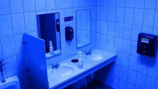 blue restroom at Turkey Hill Minit Market